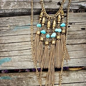 Jewelry - Long double chain fringe coin tassel necklace